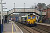 16th Dec 09:  Shortly before it started snowing 66536 thunders through Whitchurch with the diverted 4O11 from Birch Coppice