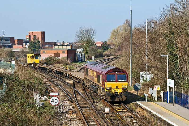 18th Mar 09:  66176 rounds the sharp curve into Staines Station with the morning Eastleigh to Hoo Junction departmental.