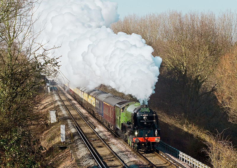 14th Feb 09:  On her first trip south of the Thames 60163 'Tornado' Powers up the short climb through Lyne. Leaving Waterloo and Via Andover and Eatleigh the return was to Victoria.