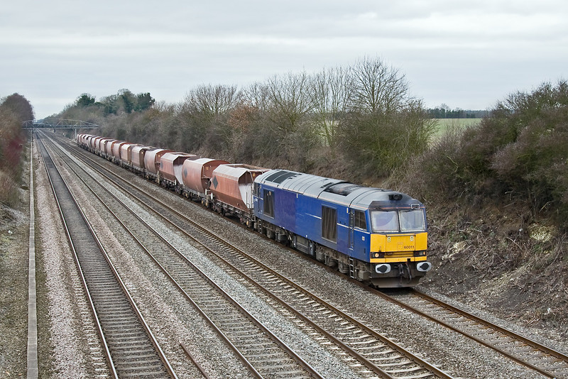 23rd Feb 09: At last I have managed to capture 60011. Seen here working 6M20 from Whatley to St Pancras at Shottesbrooke