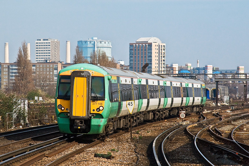 18th Mar 09:  377108 slows for the Clapham Junction stop working the 11.43 Victoria to Caterham service