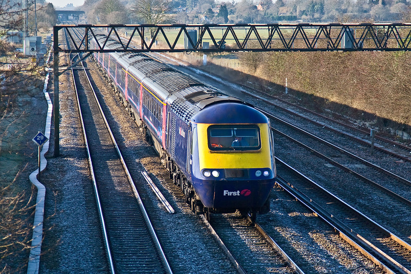 3rd Jan 09:  The 09.00 Cheltenham to Paddington pictured from Milley Bridge, Waltham St Lawrence. Note Ruscombe ladder crossover behind the train.