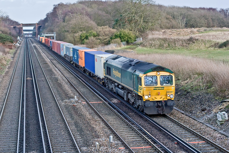 22nd Jan 09:  4VEP 3417 being towed by 73209/205 from East Grinstead to Eastleigh for storage has just passed the bridge at Totters Lane near Winchfield