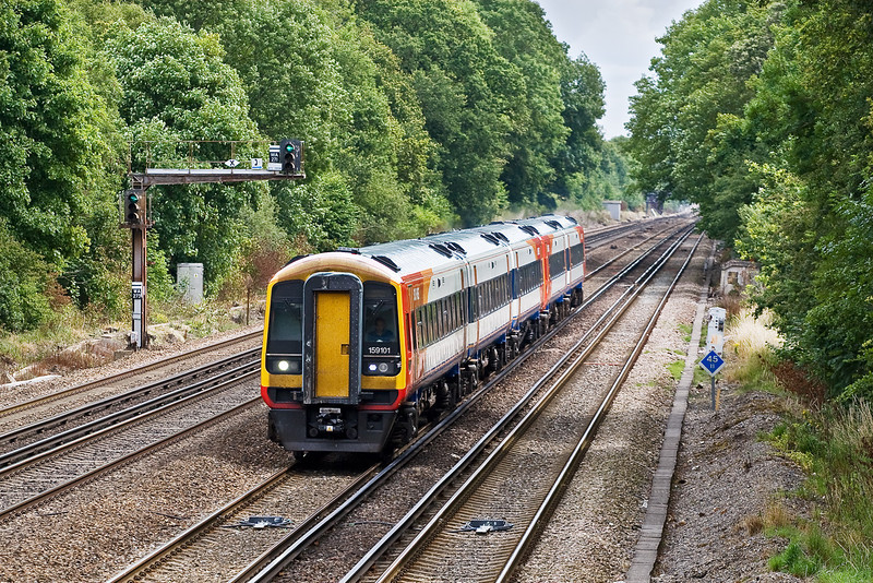 20th Jul 09:  159101 & 158887 forming  1L29 the 11.20 from Waterloo to Yeovil Junction are seen here passing Old Basing