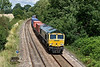 30th Jul 09:  66573 rounds the curve through Silchester with 4O14 from Garston to Southampton