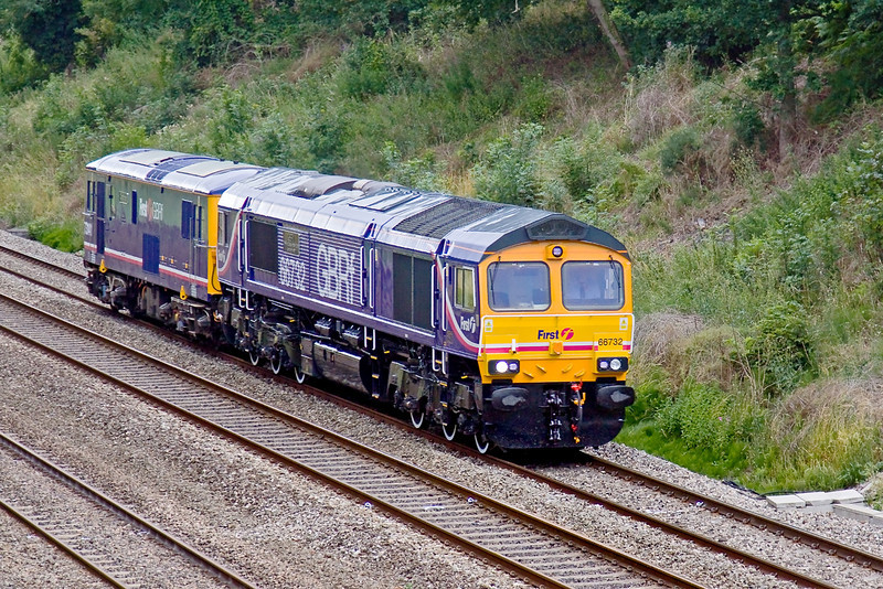13th Jul 09:   0Z74 brought GBRf 66732 and 73141 from their naming ceremony at Mereehead back to Tonbridge Yard.  Captured, in dire light, passing through the Sonning Cutting