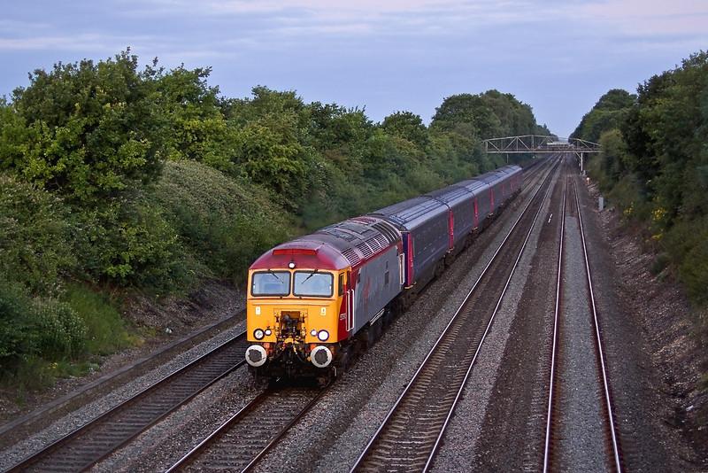 9th Jul 09:  At 04.57 Virgin Thunderbird 57310 hurries through Shottesbrooke with 1A40 the FGW Sleeper train from Penzance to Paddington.