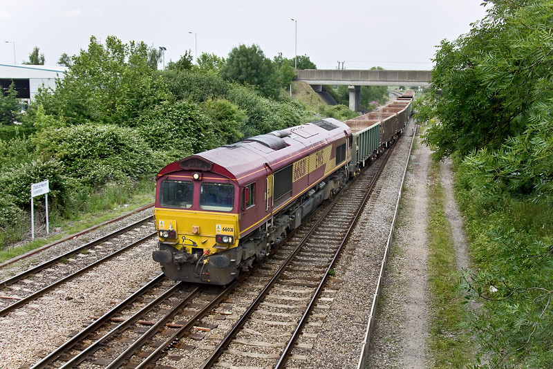 25th Jun 09:  At Didcot North Junction 66031 takes the West Curve with 6C48 the 13.30 from Appleford to Whatley,