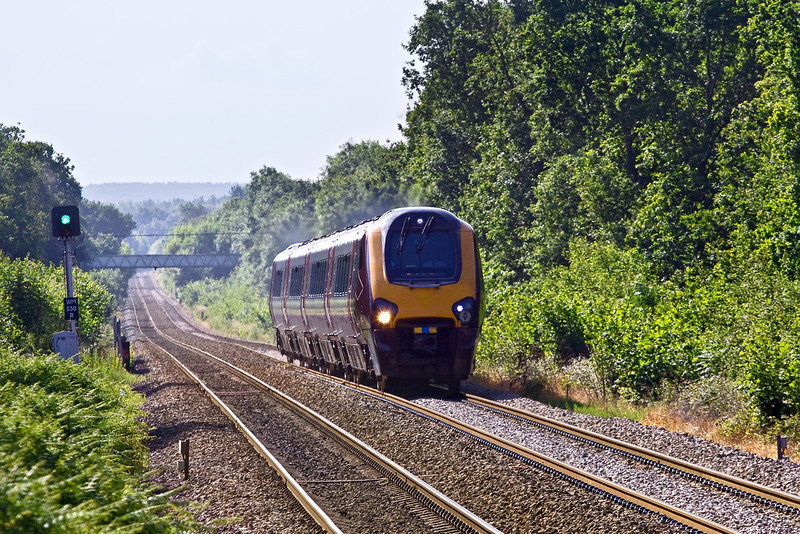 14th Jun 09: A Voyager  charges up the grade though Sandhurst. This is believed to be the diverted 1M36, 07.30 Bournemouth to Manchester Piccadilly