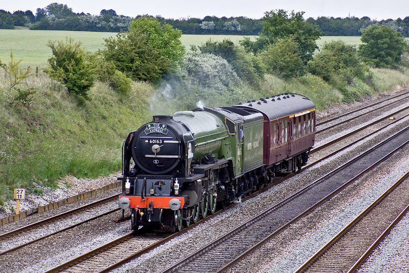 22nd Jun 09:  Tornado running as 1Z63 from Acton to Tyseley chunters quietly through Shottesbrooke. The movement was nearly 90 minutes early.
