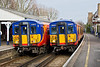 7th Mar 09: 455732 to Waterloo crosses 455741 to Shepperton at Hampton