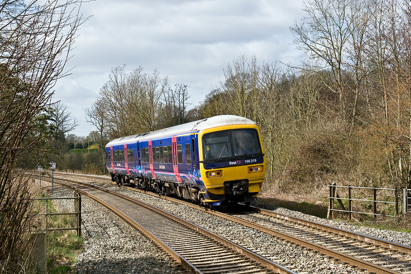24th Mar 09:  The 12.13 from Newbury to Reading arrives at Midgham. It is unusual to see  a 166 running as a 2 car unit.