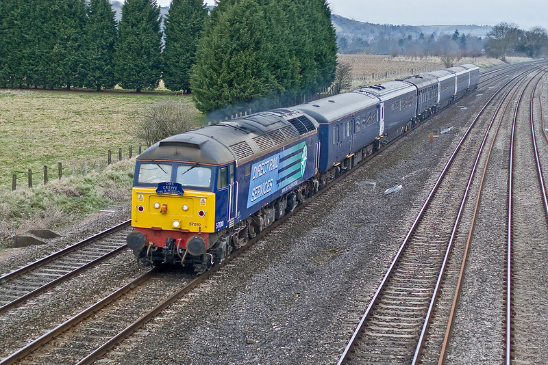 12th Mar 09:   A DRS stock move from Crewe to Eastleigh, working code 5Z58, headed by 57010 powers up the main line though Lower Basildon.