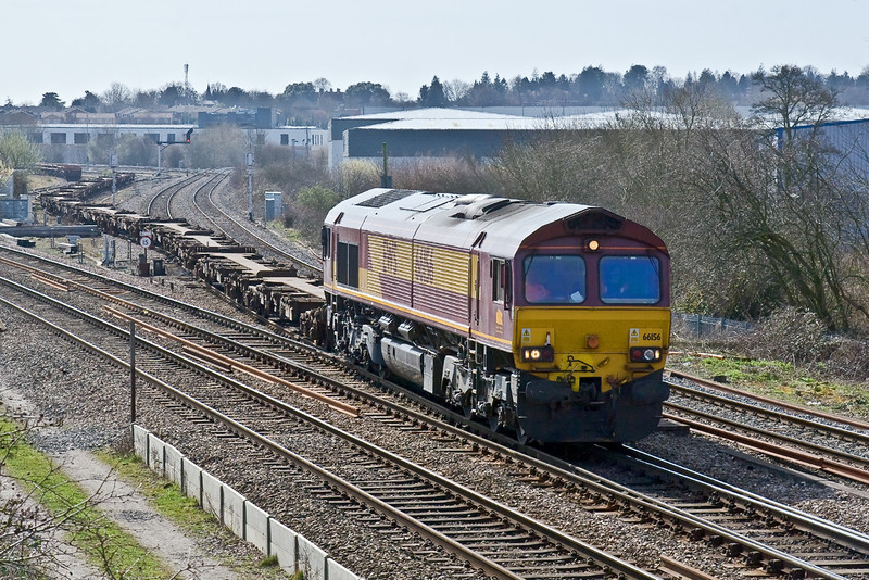 16th Mar 09:  Snaking out of the yard; and over North Junction is 66156 taking the 12.07 (6A49) MoD service from Didcot to Bicester