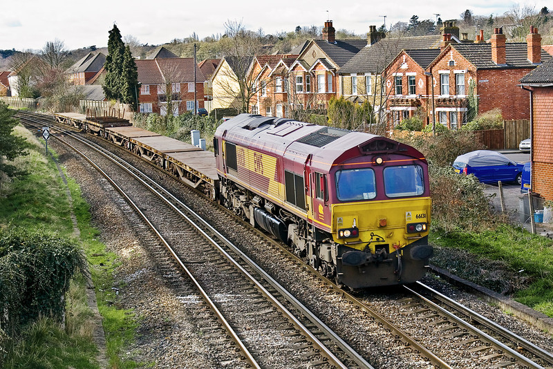 24th Mar 09:  The morning Eastleigh to Hoo Junction departmental in the hands of 66131 nears Egham