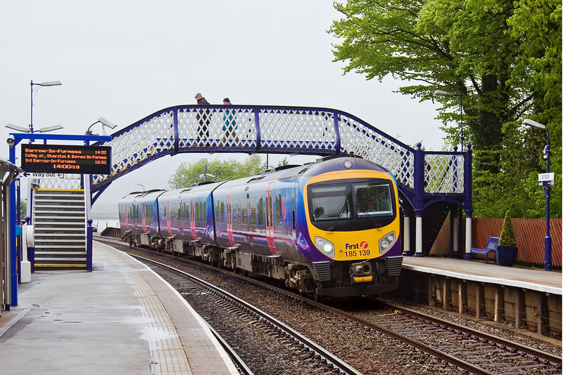 6th May 09:  185139 departs from Arnside for Manchester Airport from Barrow in Furness