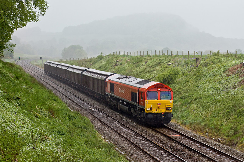 6th May 09:  66152 nears Pleasington with 6N42, Warrington Arpley to Blackburn.  The driving rain blowing straight in to the lens was making my life very difficult