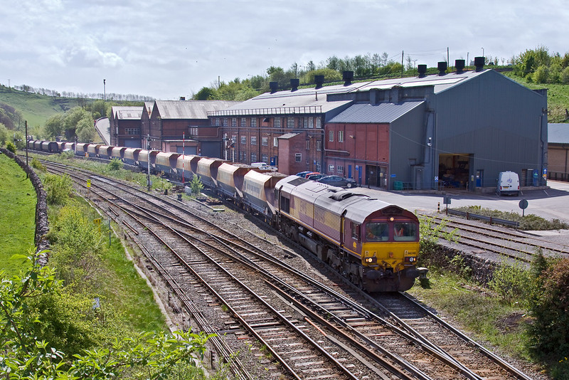 8th May 09:  66248 draws hoppers out from the sidings at Great Rocks Junction, They will be taken to Hindlow, Briggs Siding