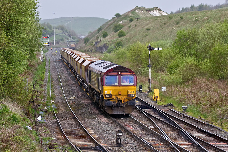 8th May 09:  66248 nears Great Rocks Junction with 6H22 trip working from Tunstead to Hindlow Briggs Siding.