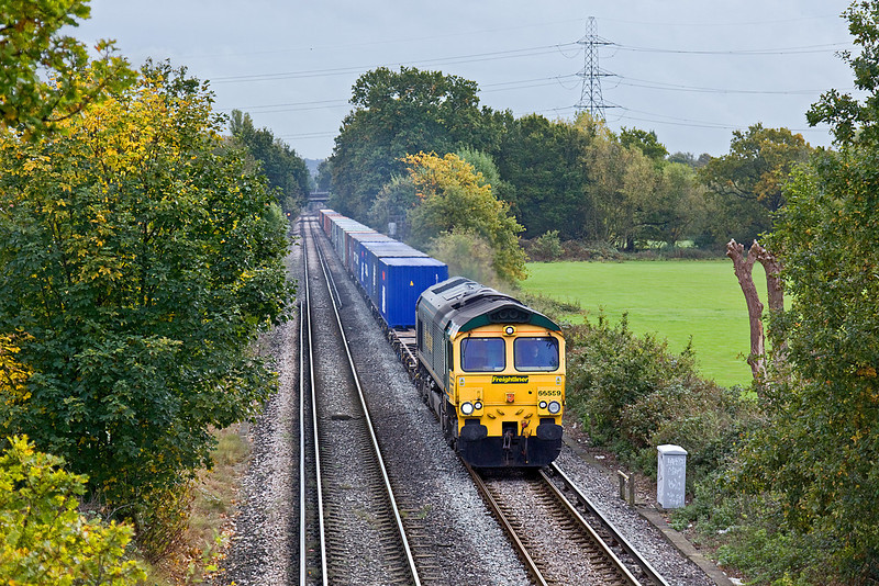 21st Oct 09:   Trundling across Addlestone Moor in Chertsey is 66559 with 4M58 from Eastleigh to Crewe.  Bits of the front numbers have pealed off making it look rather tatty.