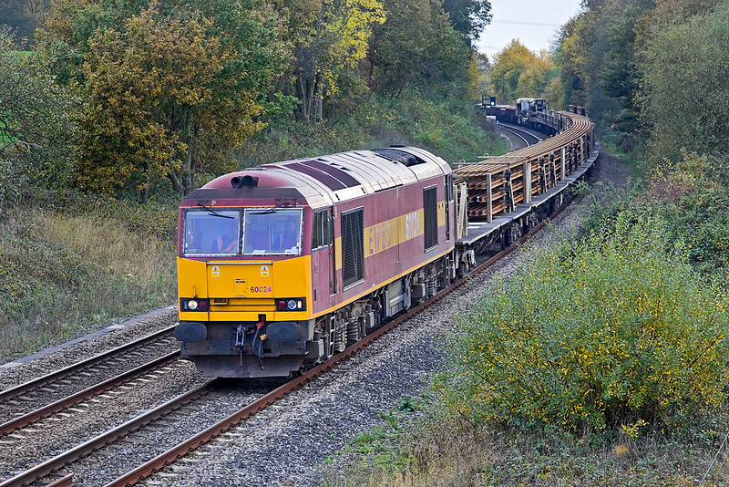 30th Oct 09:  It was good to see Tug 60024 working 6V27 from Eastleigh to Hinksey with a load of welded rail.  The location is Silchester 30th Oct 09:  A reworked version to correct the colour balance and vertical allignment.