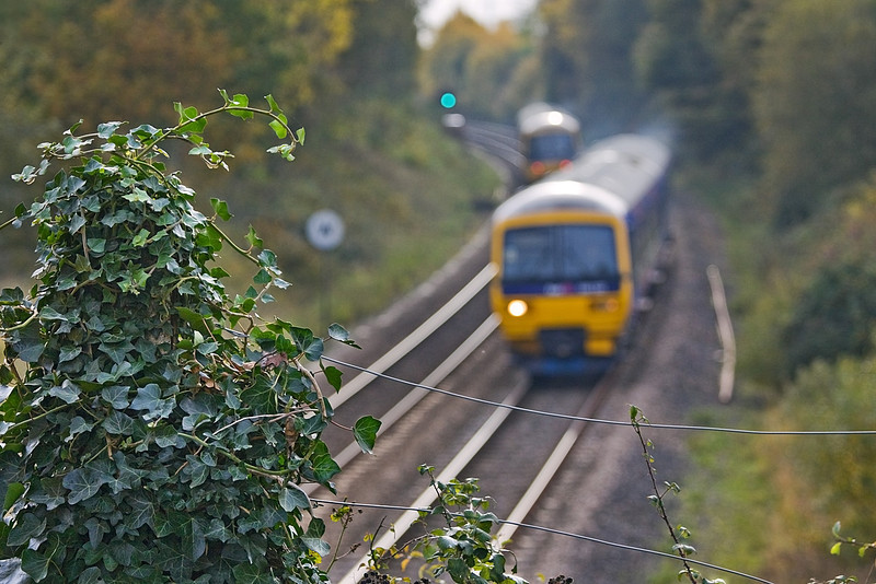 30th Oct 09: The Reading to Basingstoke shuttles pass at Silchester.  Well it is different !!