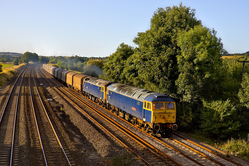 10th Sep 09:  In charge of the Colas service 6Z48 from Burton to Dollands Moor are Riviera Trains 47848+839. 848 suffered a problem at Didcot and is here running 90 minutes late through Lower Basildon being pushed by 47839