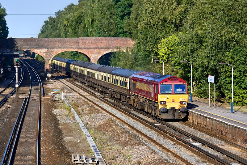 5th Sep 09:  59203 powers through Winchfield working 1Z92 from Hook to Dollands Moor. The tour will then head to Harwich before returning to Hook