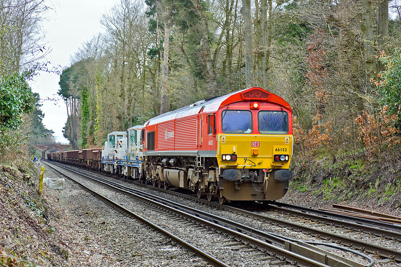 5th Apr 10:  The daily morning's Departmmental service from Eastleigh to Hoo Junction (6Y41) nears Ascot with 66152 on the point.  Tunnel works at Popham had closed the normal route causing a diversion via Salisbury, Westbury, Newbury, Reading and Ascot to pick up the usual route at Virginia Water.