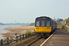 24th Apr 10:  On  a quiet Saturday afternoon 142030, forming the 15.53 to Exeter St David's from Exmouth, departs from Exton and will run along side the Saltings to the next stop at Topsham.
