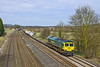6th Apr 10:  With a very light load 66588 plies the 10.00 from Wentloog to Southampton, 4O51, through Lower Basildon