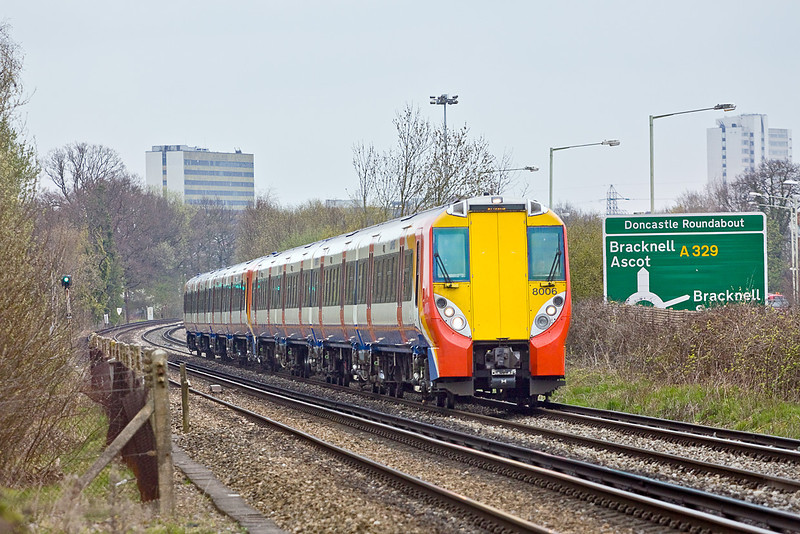 14thy Apr 10:  458006 and 458017 working 2C17 at Amen Corner in Bracknell with a Waterloo to Reading service. It was 45 minutes late at this point and was terminated at Wokingham