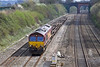12th Apr 10:  66201 trots west through Purley on Thames with a few container wagons comprising 4V38 Eastleigh to Didcot