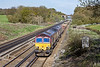 22nd Apr 10:  66158 has 66087 DIT on the afternoon departmental service from Hoo Junction to Eastleigh.  Seen here plodding past Totters Lane between Winchfield and Hook
