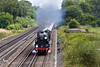 "18th Aug 10: The"" Dorset Coast Express"" with 30777 ""Sir Lamiel"" on the point accelerates away from the Winchfield water stop"