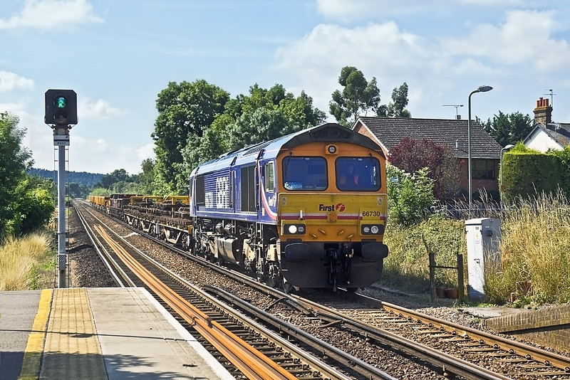 8th Aug 10:  From engineering work at Ash Junction 6G11, in the hands of 66730, runs through Bagshot on the return to Hoo Junction