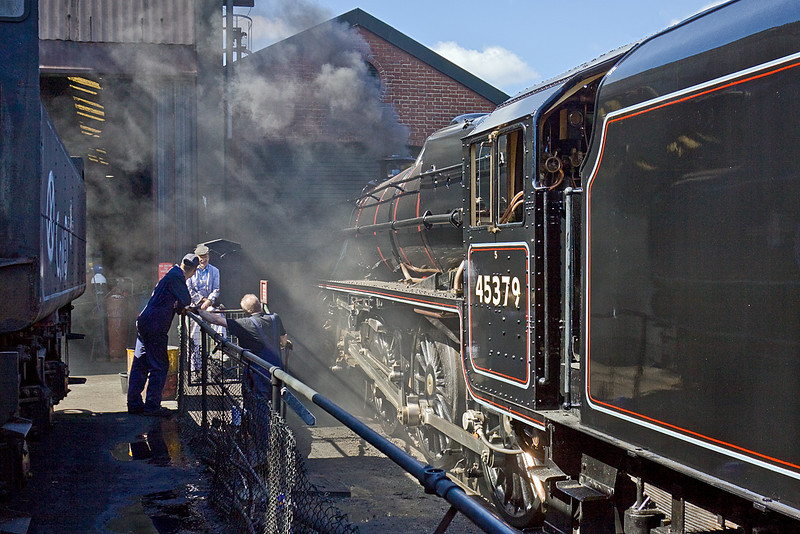 30th Aug 10:  Warming through outside the wheel drop shed is newly restored Black 5 45379