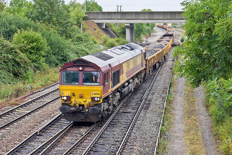 10th Aug 10:  The morning Hinksey to Eastleigh departmental working, 6O26, is powered by 66056.  Seen here at Didcot North taking the line that runs through the station.  Note the extra headlight above the coupling on the left hand side for use when banking on the Lickey Incline.