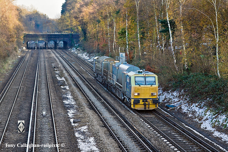 5th Dec 10:  Heading west through Frimley is Windhoff MPV DR 98972 & 977 working 3S85 RHTT back to Eastleigh