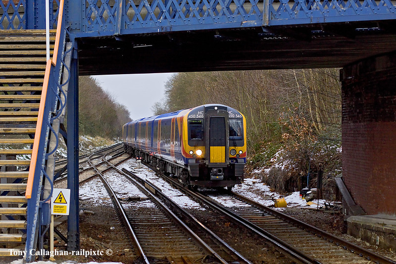 27th Dec 10:  The 12.52 from Waterloo to Weybridge arrives at Virginia Water with 450546 as the lead unit