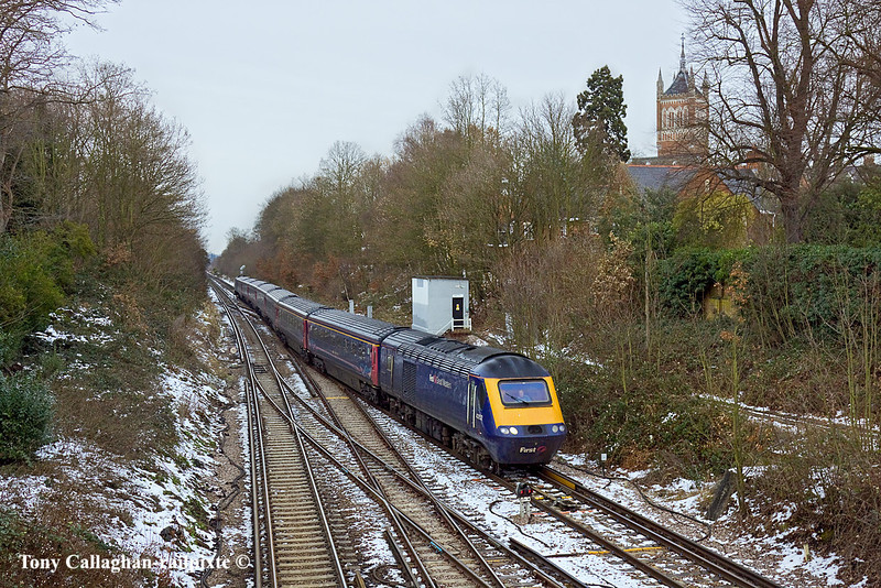 27th Dec 10:  Taking the Chertsey line at Virginia Water are 43152 & 43093 working 1V11 the 13.26 from Waterloo to Penzance