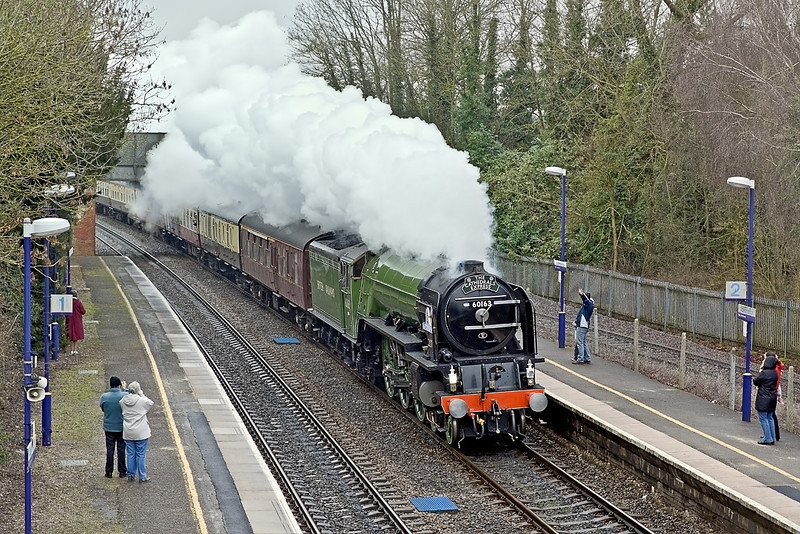 """14th Feb 10:  The Valentine's Day Lunch Special powered by 60163 """"Tornado"""" races past the onlookers at Aldermaston"""