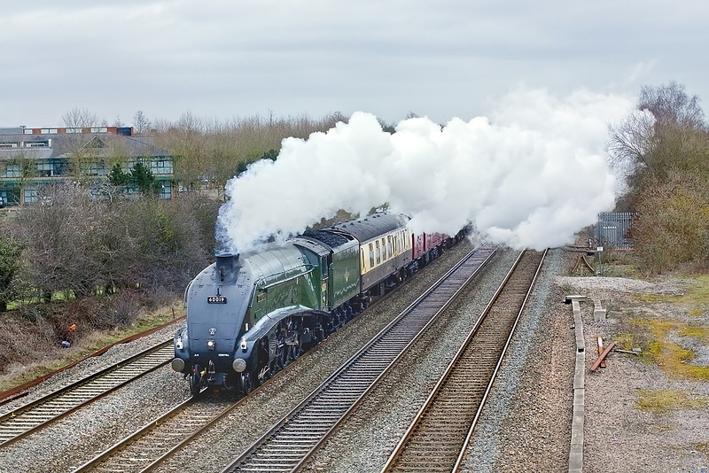 """13th Feb 10:  The Valentine Express from Paddington to Bristol Temple Meads is headed by LNER A4 Pacific 60019 """"Bittern"""". Captured here passing the site of Waltham Sidings to the west of Maidenhead"""