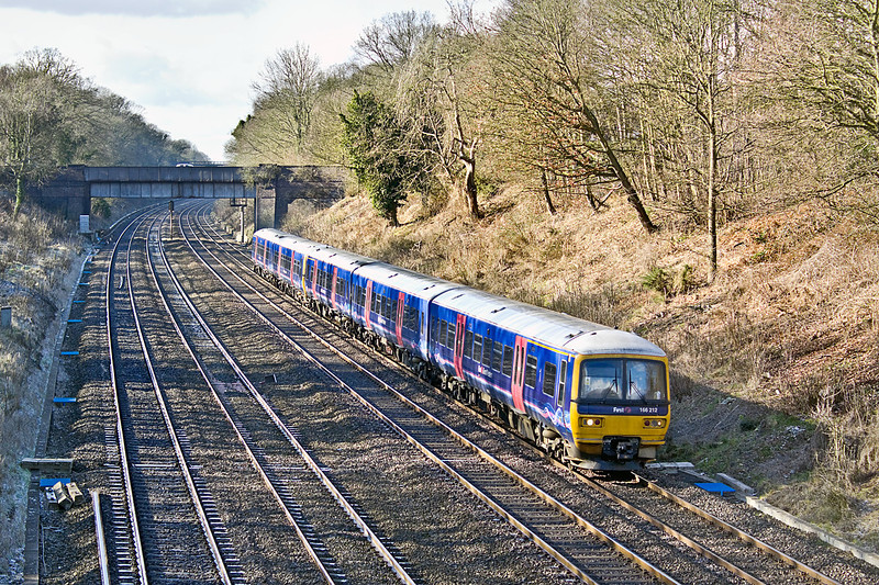 10th Feb 10:  14 minutes later and a total change of weather for 166212 forming the 11.07 from Oxford.  Pictured from the Duffield Road bridge in the Sonning Cutting