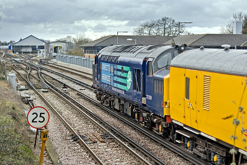 9th Feb 10: 37259 on the rear of 1Q79.  The layout of  SWT's Farnham depot is clear to see.