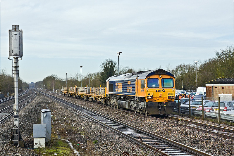 5th Feb 10:  66702 powers 4L31 scrap sleepers from Taunton's Fairwater Yard to Whitemoor through Twyford