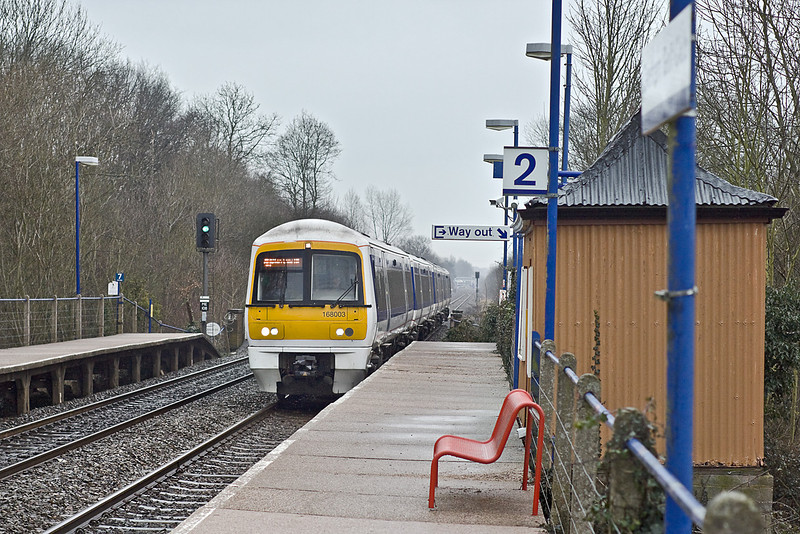 8th Feb 10:  168107 is working the 11.40 from Stratford on Avon. Running on time it is seen here at Denham Golf Club halt
