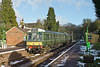 17th Jan 10:  Catching some winter sun and with remnants of heavy snow on the platforms the 12.55 from Alton rests at Medstead & Four Marks