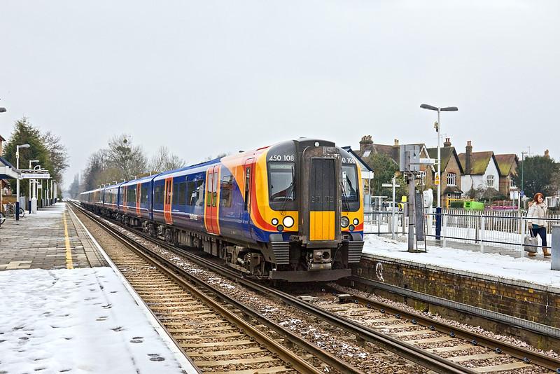 12th Jan 10:  2U39, 13.59 Waterloo to Windsor & Eaton Riverside at Datchet formed of 450108 leading 450017