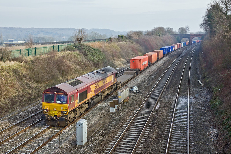27th Jan 10:  66024 leads 4M66 through Purley on Thames.  The Intermodal service to Birch Coppice left Southampton at 11.15